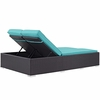 Convene Espresso/Turquoise Double Outdoor Patio Chaise by Modway