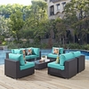 Convene 7-Pc Espresso/Turquoise Outdoor Patio Sectional Set by Modway