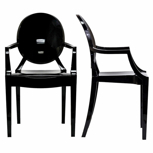 Casper 2 Black Plastic Dining Arm Chairs by Modway