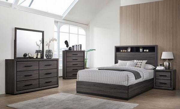 Conwy Gray Wood King Bed w/Bookcase Headboard by Furniture of America