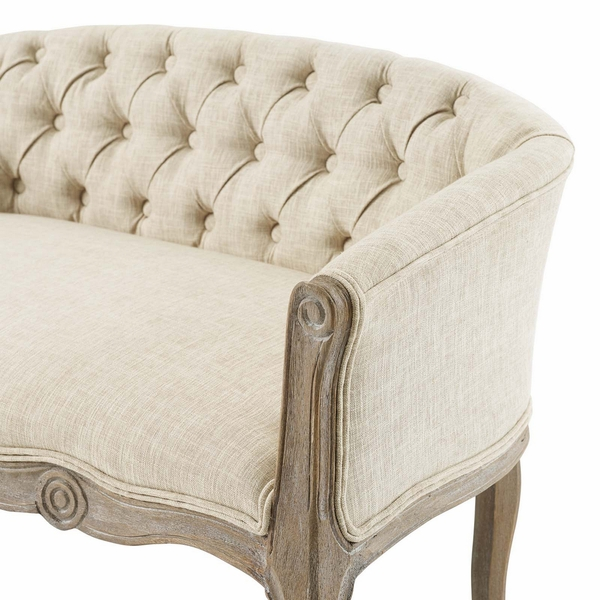 Crown Beige Soft Fabric Button Tufted Settee Loveseat by Modway