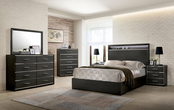 Camryn Warm Gray Wood Queen Bed with Shelf by Furniture of America