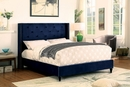 Anabelle Navy Linen-like Fabric King Bed by Furniture of America