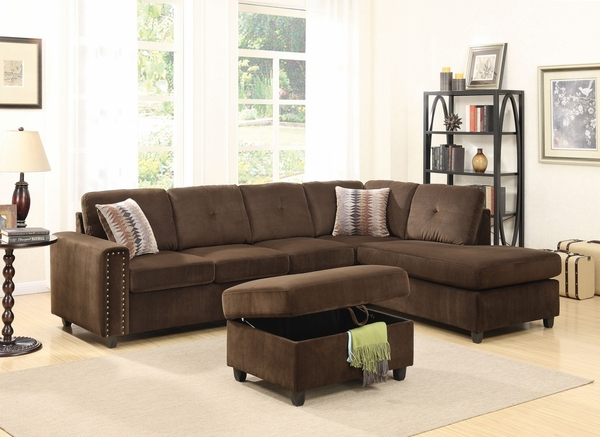 Belville Chocolate Velvet Sectional Sofa with Ottoman by Acme
