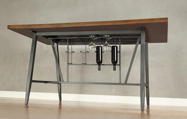 Selbyville Cherry/Gun Metal/Wood Counter Height Table by Homelegance