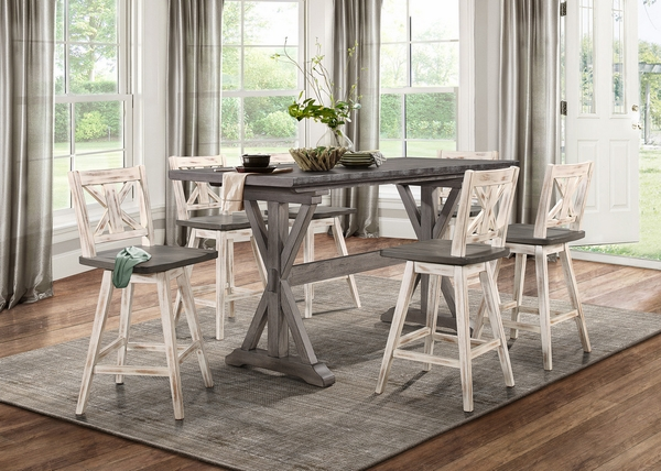 Amsonia Distressed Gray Wood Counter Height Table by Homelegance