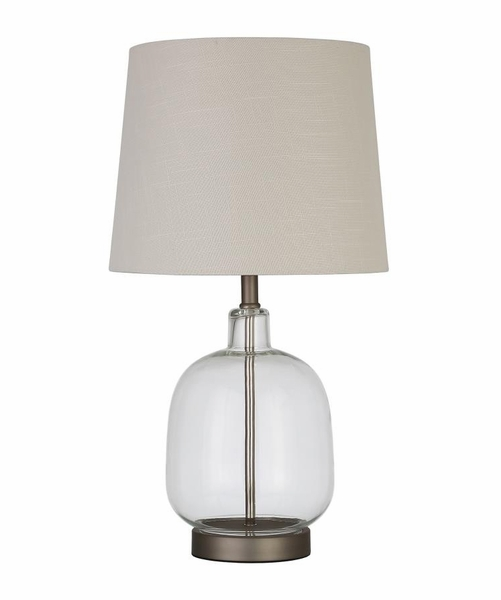 Aurel Clear Glass Table Lamp w/ Crisp White Shade by Coaster