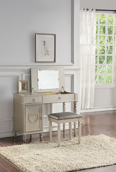 Luciana 3-Pc Silver Wood/Fabric Vanity Set by Poundex