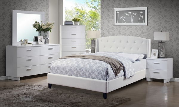 Billie 6-Pc White Wood King Bed Set with Bonded Leather Bed by Poundex
