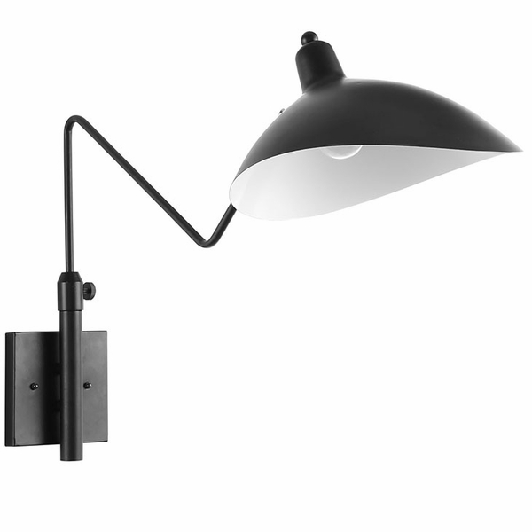 View Black/White Steel Wall Lamp by Modway
