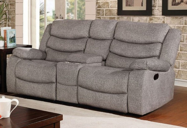 Castleford Light Gray Manual Recliner Loveseat by Furniture of America