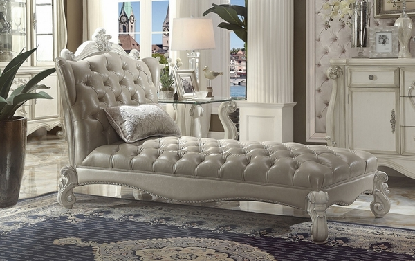 Versailles Vintage Gray/Bone White Chaise with 1 Pillow by Acme