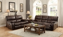 Pecos Brown Leather Gel Match Manual Recliner Loveseat by Homelegance