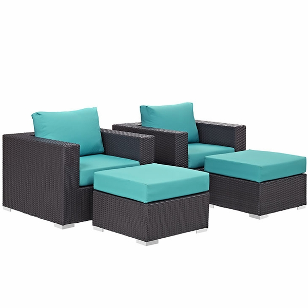 Convene Espresso/Turquoise 4Pcs Outdoor Patio Sectional Set by Modway