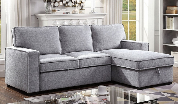 Ines Gray Fabric Sectional with Sleeper by Furniture of America