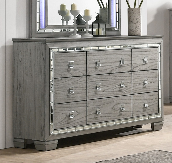 Antares Light Gray Oak Wood 9-Drawer Dresser with Mirror Trim by Acme