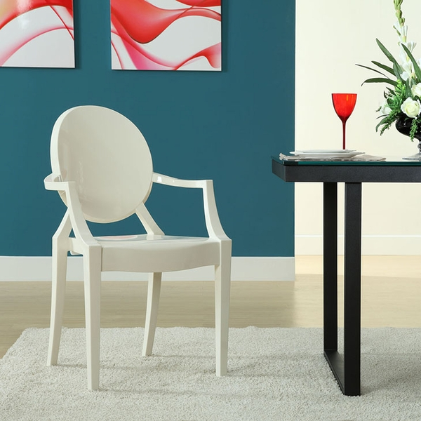 Casper White Plastic Dining Arm Chair by Modway