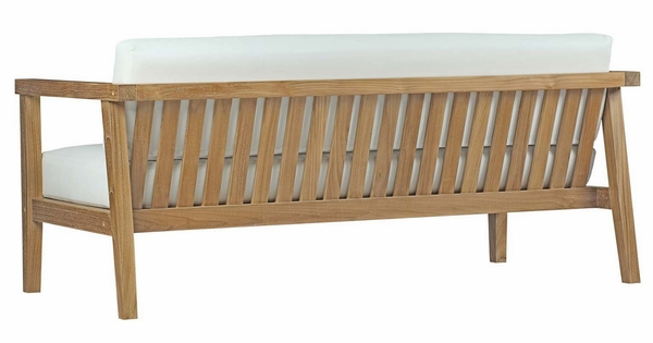 Bayport 8Pc Natural Teak Wood/White Fabric Outdoor Patio Set by Modway