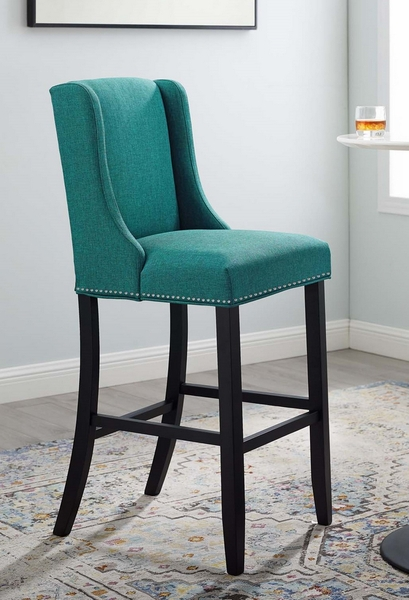 Baron Teal Fabric/Wood Bar Stool by Modway