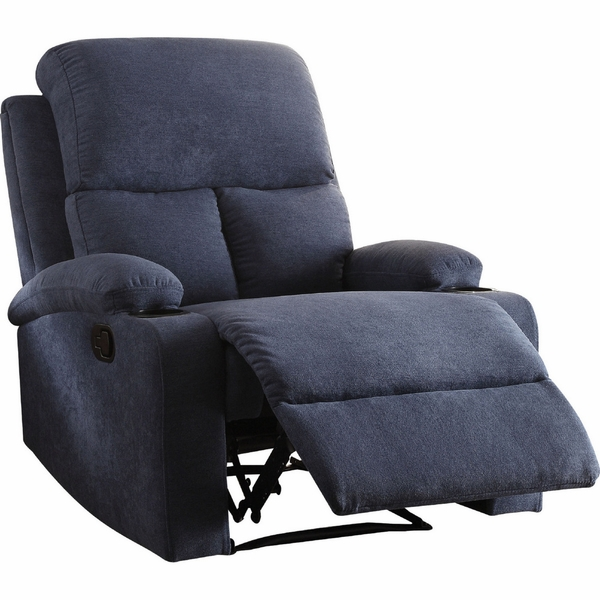 Rosia Blue Linen Manual Recliner by Acme