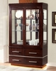 Lawrence Dark Cherry Curio with Touch Lights by Furniture of America