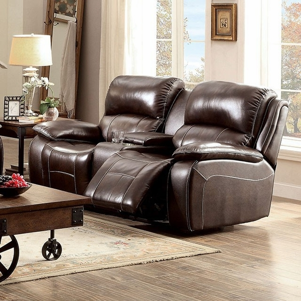 Ruth Brown Manual Recliner Loveseat by Furniture of America