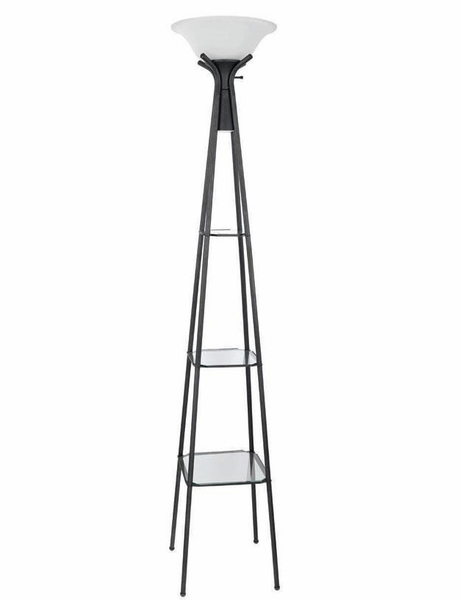 Evelin Charcoal Black Floor Lamp w/ Frosted Glass Shade by Coaster