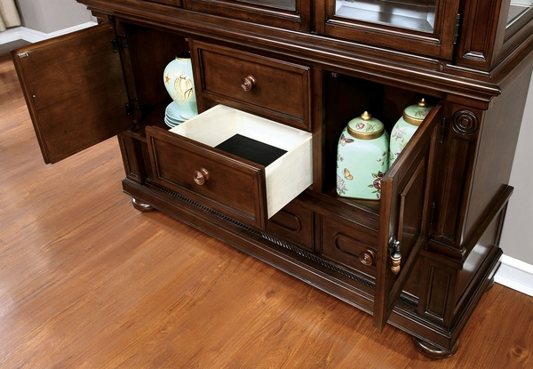 Alpena Brown Cherry Wood Hutch & Buffet by Furniture of America