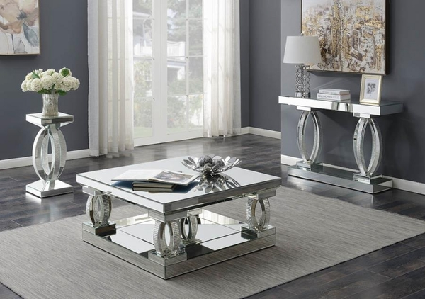 Arely Clear Mirror End Table with Rhinestones by Coaster