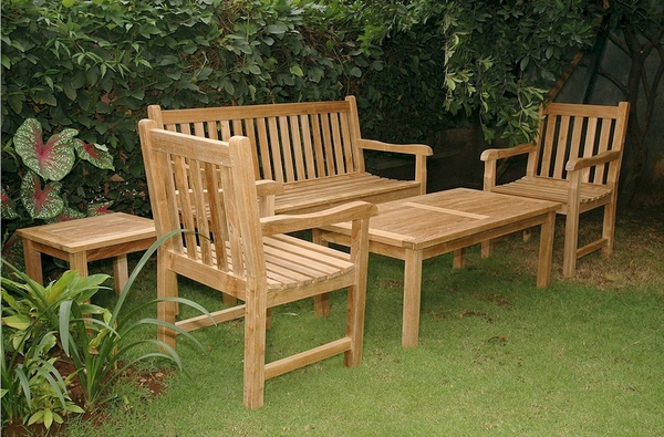 Classic 5-Pc Natural Finish Outdoor Patio Set by Anderson Teak