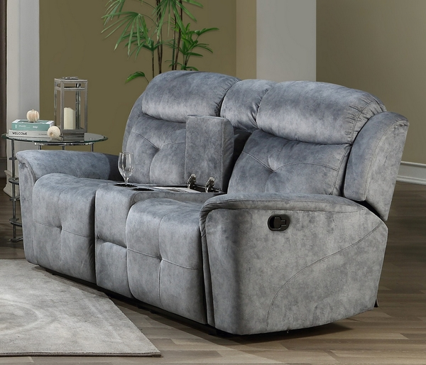 Mariana Silver Gray Fabric Manual Recliner Loveseat w/Console by Acme