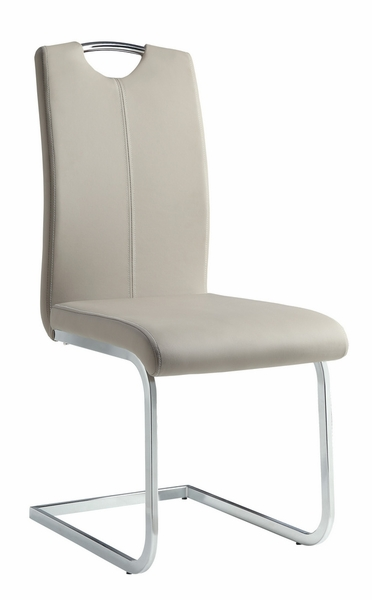 Glissand 2 Gray Vinyl/Chrome Metal Side Chairs by Homelegance
