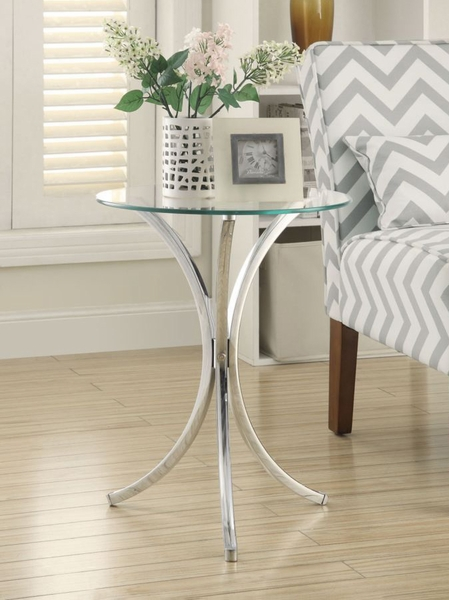 Anastas Chrome Metal Snack Table with Glass Top by Coaster