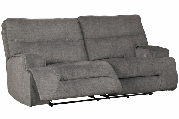 Benchcraft Coombs Charcoal Fabric Power Recliner Sofa by Ashley