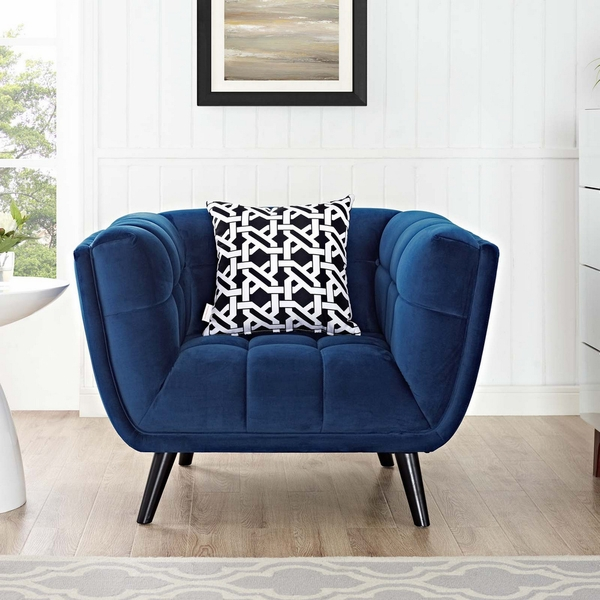 Bestow Navy Soft Velvet Fabric Arm Chair by Modway