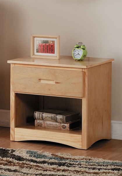 Bartly Natural Pine Wood Nightstand by Homelegance