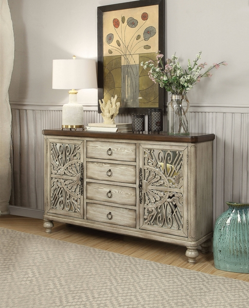 Vermont Antique White Wood Console Table w/2 Doors & 4 Drawers by Acme