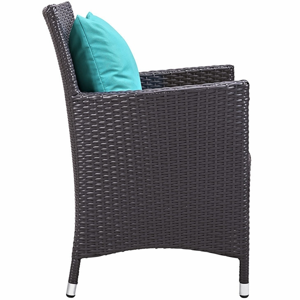 Convene Espresso & Turquoise 11-Pc Outdoor Patio Dining Set by Modway