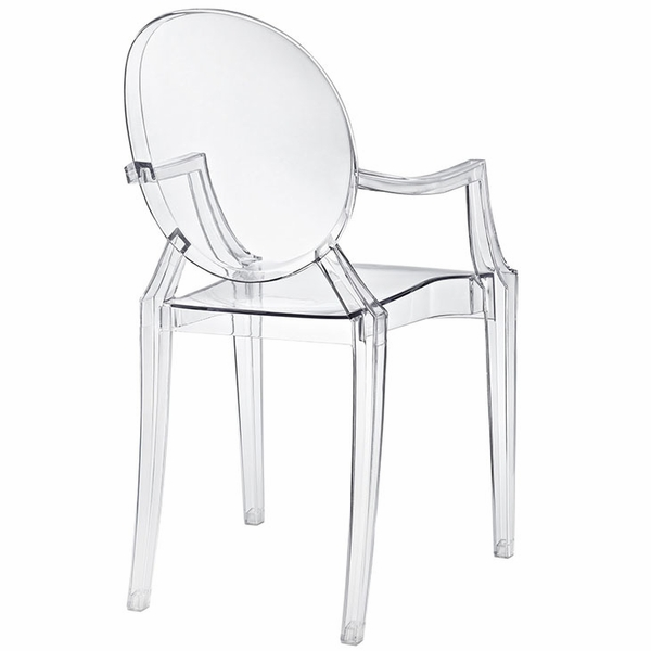 Casper Clear Plastic Dining Arm Chair by Modway