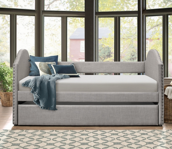 Comfrey Gray Fabric Twin Daybed with Trundle by Homelegance