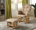Rehan Taupe Microfiber Manual Recliner Glider Chair w/ Ottoman by Acme
