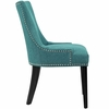 Marquis 2 Teal Fabric/Wood Side Chairs with Nailhead Trim by Modway