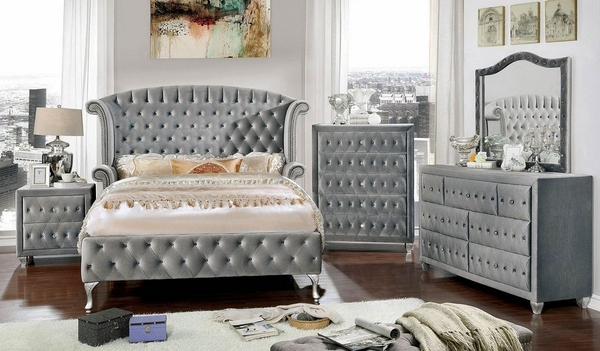 Alzire Gray Upholstered Fabric Chest by Furniture of America