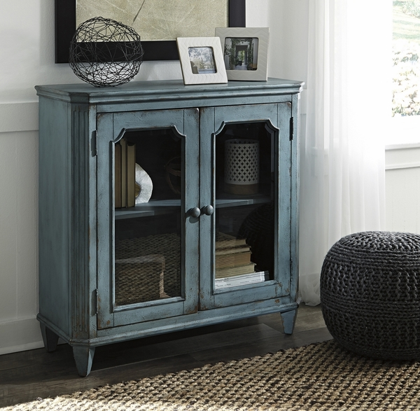 Signature Design Mirimyn Antique Teal Wood Accent Cabinet by Ashley