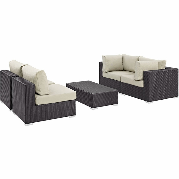 Convene 5-Pc Espresso/Beige Outdoor Sectional Set by Modway