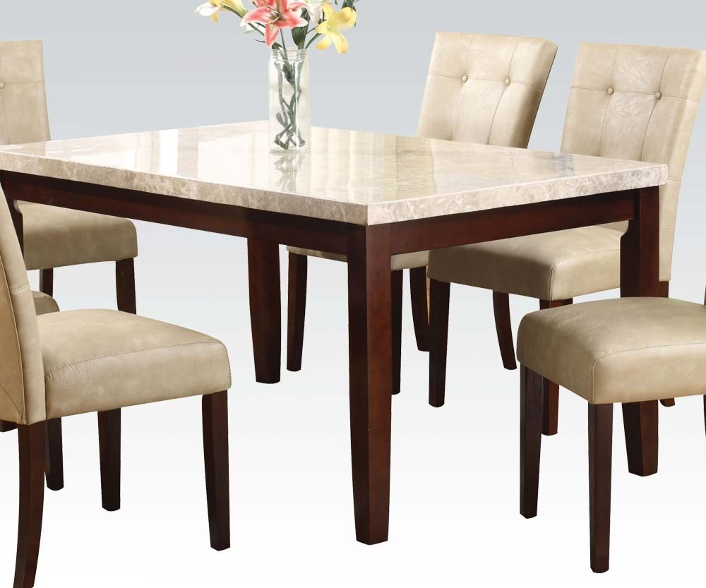 Britney White Marble Walnut Wood Dining Table By Acme