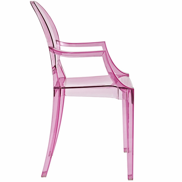 Casper Pink Plastic Dining Arm Chair by Modway