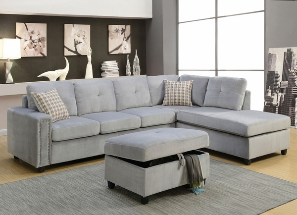 Belville Gray Velvet Ottoman with Storage by Acme
