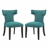 Curve 2 Teal Fabric Upholstered Side Chairs by Modway