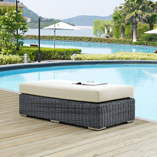 Summon Rattan Bench with Beige Fabric Cushion by Modway